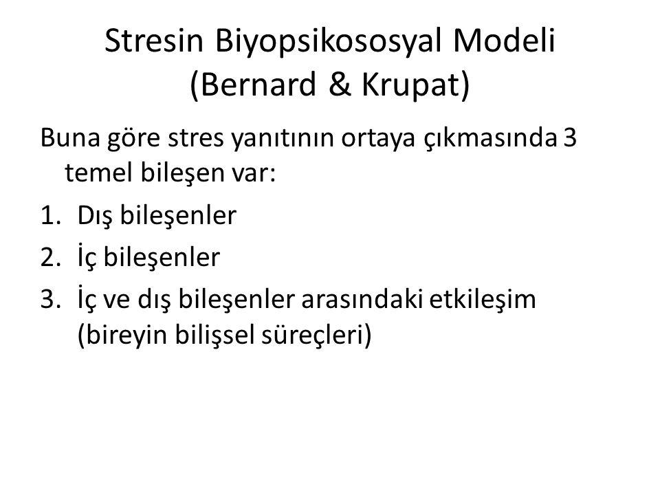 Stresin Biyopsikososyal Modeli (Bernard & Krupat) Buna göre stres yanıtının ortaya çıkmasında 3 temel bileşen var: 1.Dış bileşenler 2.İç bileşenler 3.