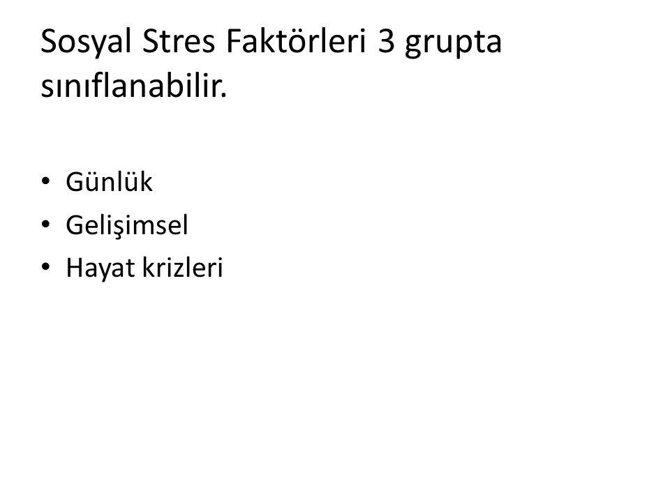 Sosyal Stres Faktörleri 3 grupta sınıflanabilir. Günlük Gelişimsel Hayat krizleri