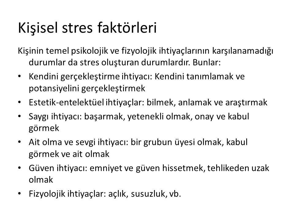 Kişisel stres faktörleri Kişinin temel psikolojik ve fizyolojik ihtiyaçlarının karşılanamadığı durumlar da stres oluşturan durumlardır. Bunlar: Kendin