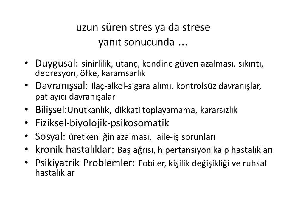 uzun süren stres ya da strese yanıt sonucunda... Duygusal: sinirlilik, utanç, kendine güven azalması, sıkıntı, depresyon, öfke, karamsarlık Davranışsa