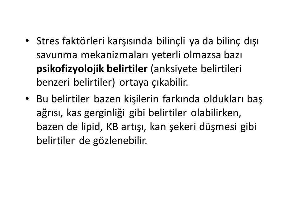 Stres faktörleri karşısında bilinçli ya da bilinç dışı savunma mekanizmaları yeterli olmazsa bazı psikofizyolojik belirtiler (anksiyete belirtileri be