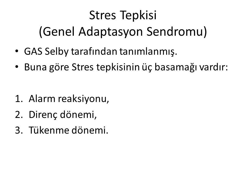 Stres Tepkisi (Genel Adaptasyon Sendromu) GAS Selby tarafından tanımlanmış. Buna göre Stres tepkisinin üç basamağı vardır: 1.Alarm reaksiyonu, 2.Diren