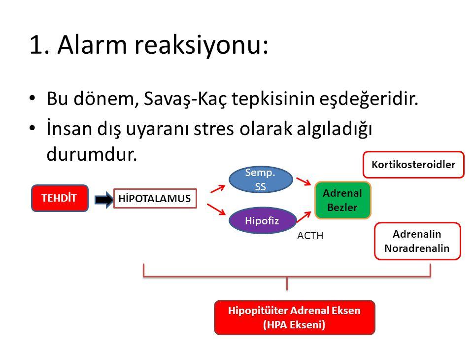 1.Alarm reaksiyonu: Bu dönem, Savaş-Kaç tepkisinin eşdeğeridir.