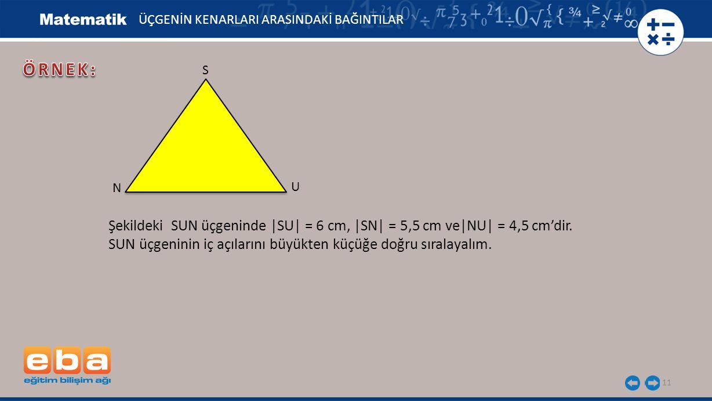 11 ÜÇGENİN KENARLARI ARASINDAKİ BAĞINTILAR S U N Şekildeki SUN üçgeninde |SU| = 6 cm, |SN| = 5,5 cm ve|NU| = 4,5 cm'dir. SUN üçgeninin iç açılarını bü
