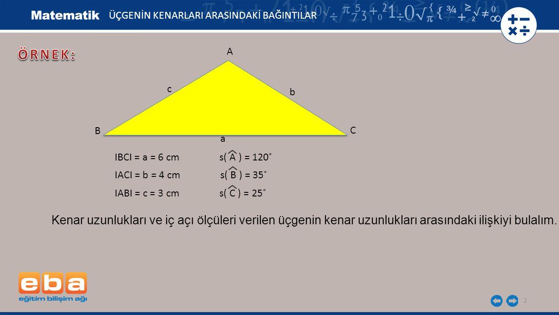 2 Kenar uzunlukları ve iç açı ölçüleri verilen üçgenin kenar uzunlukları arasındaki ilişkiyi bulalım. IBCI = a = 6 cm s( A ) = 120˚ IACI = b = 4 cm s(
