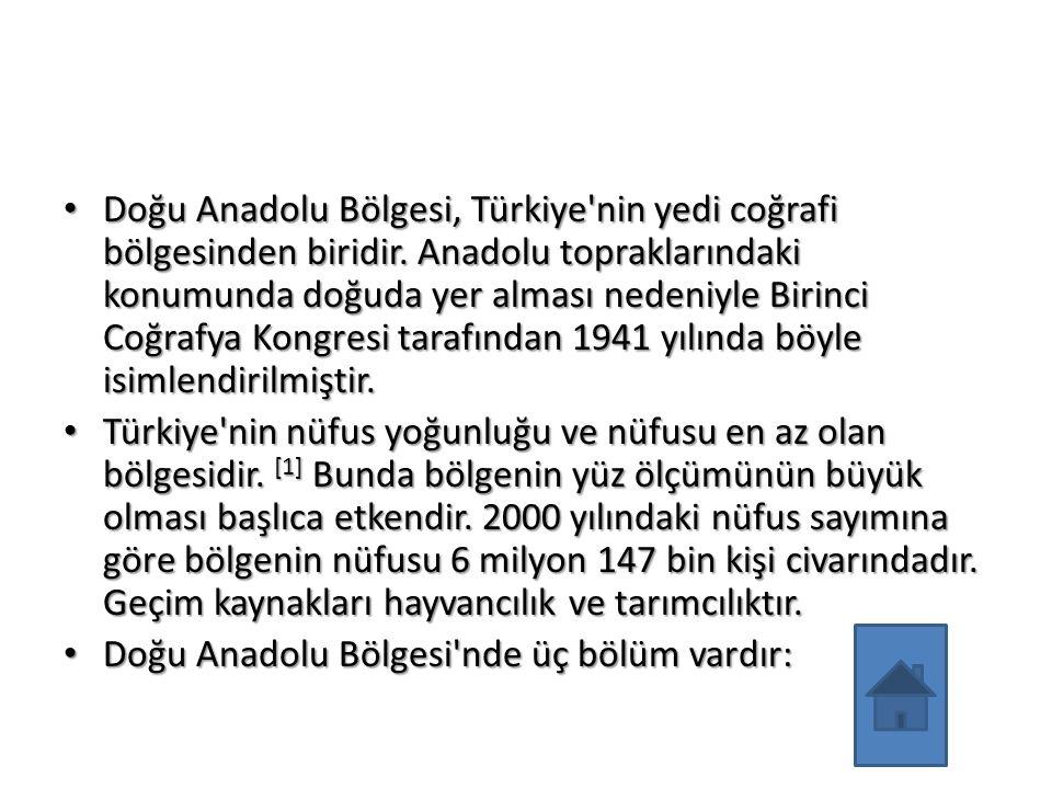 Doğu Anadolu Bölgesi, Türkiye'nin yedi coğrafi bölgesinden biridir. Anadolu topraklarındaki konumunda doğuda yer alması nedeniyle Birinci Coğrafya Kon