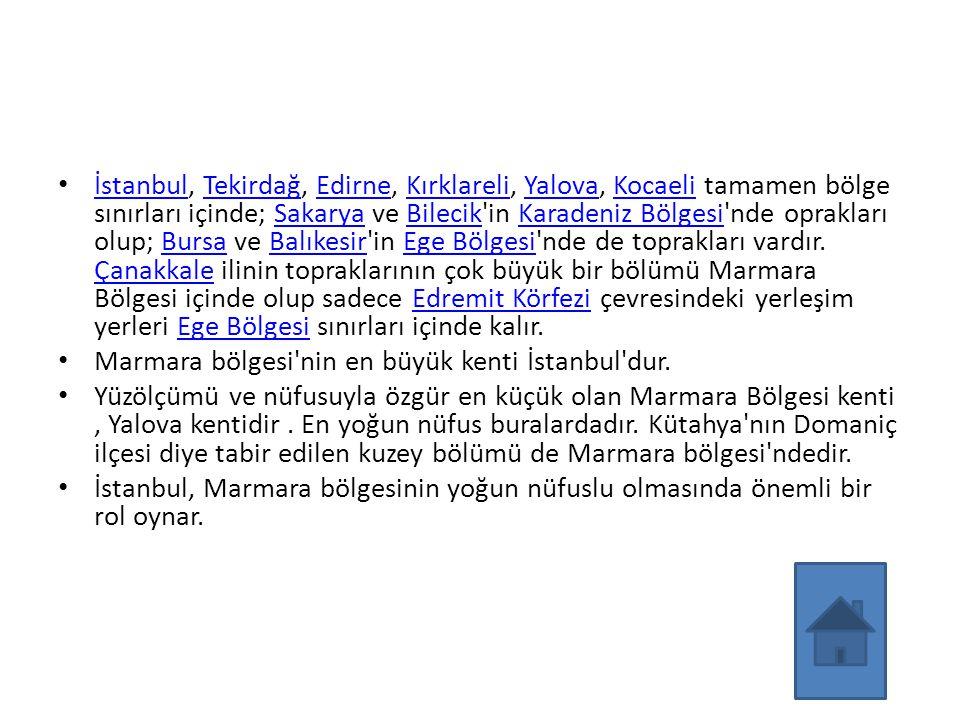 İstanbul, Tekirdağ, Edirne, Kırklareli, Yalova, Kocaeli tamamen bölge sınırları içinde; Sakarya ve Bilecik'in Karadeniz Bölgesi'nde oprakları olup; Bu
