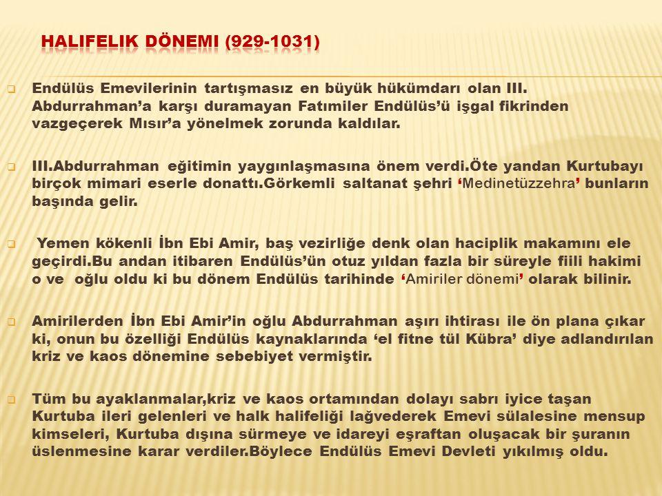  Endülüs Emevilerinin tartışmasız en büyük hükümdarı olan III. Abdurrahman'a karşı duramayan Fatımiler Endülüs'ü işgal fikrinden vazgeçerek Mısır'a y