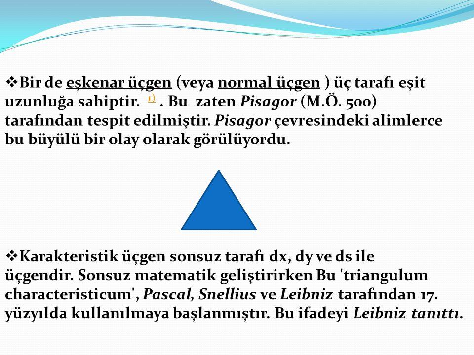  Karakteristik üçgen sonsuz tarafı dx, dy ve ds ile üçgendir. Sonsuz matematik geliştirirken Bu 'triangulum characteristicum', Pascal, Snellius ve Le