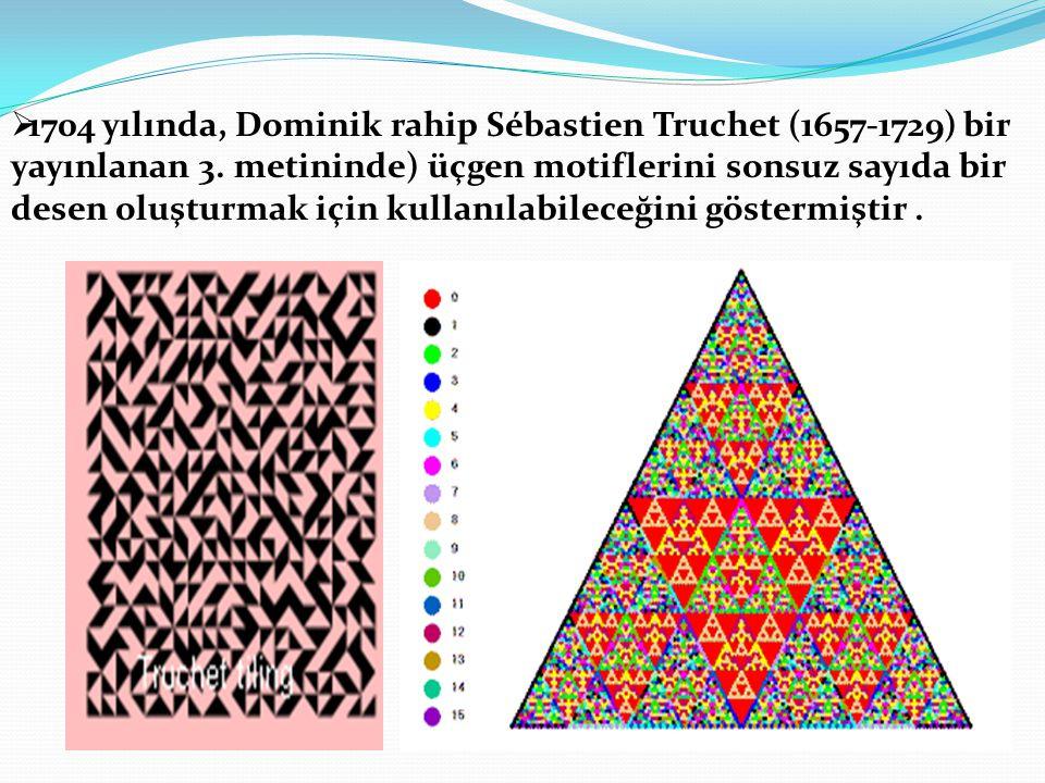  1704 yılında, Dominik rahip Sébastien Truchet (1657-1729) bir yayınlanan 3. metininde) üçgen motiflerini sonsuz sayıda bir desen oluşturmak için kul