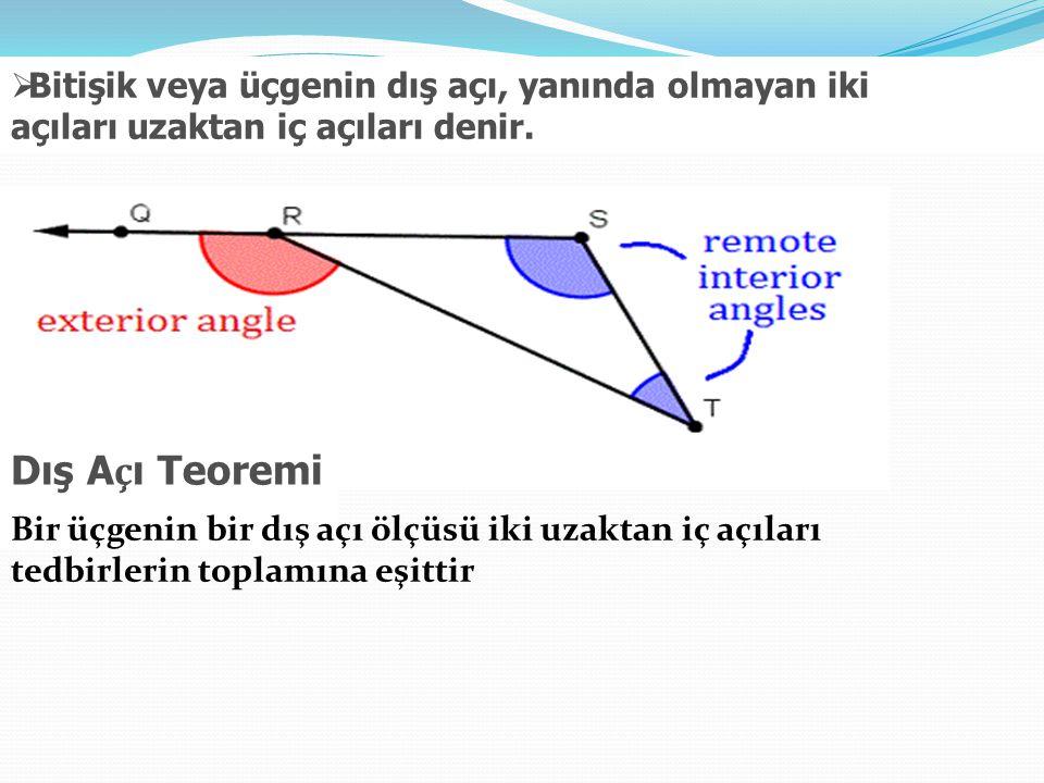  Bitişik veya üçgenin dış açı, yanında olmayan iki açıları uzaktan iç açıları denir. Dış A ç ı Teoremi Bir üçgenin bir dış açı ölçüsü iki uzaktan iç