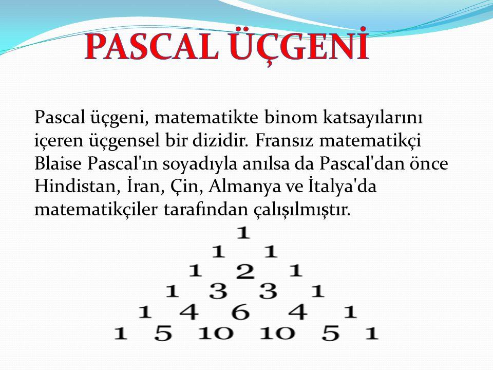 Pascal üçgeni, matematikte binom katsayılarını içeren üçgensel bir dizidir. Fransız matematikçi Blaise Pascal'ın soyadıyla anılsa da Pascal'dan önce H