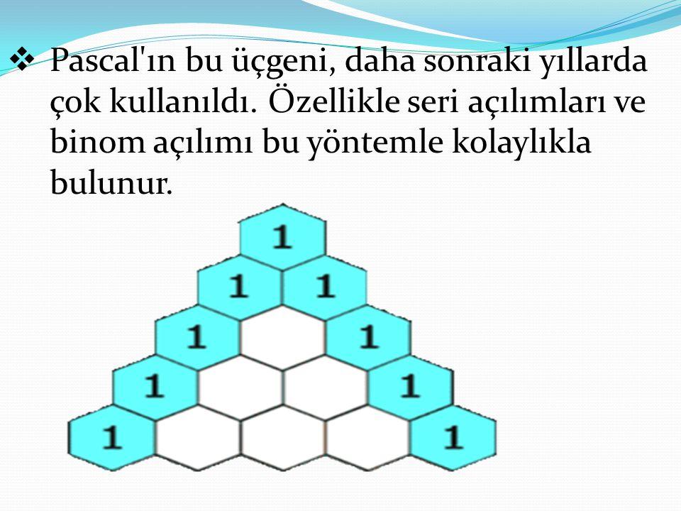 Pascal'ın bu üçgeni, daha sonraki yıllarda çok kullanıldı. Özellikle seri açılımları ve binom açılımı bu yöntemle kolaylıkla bulunur.