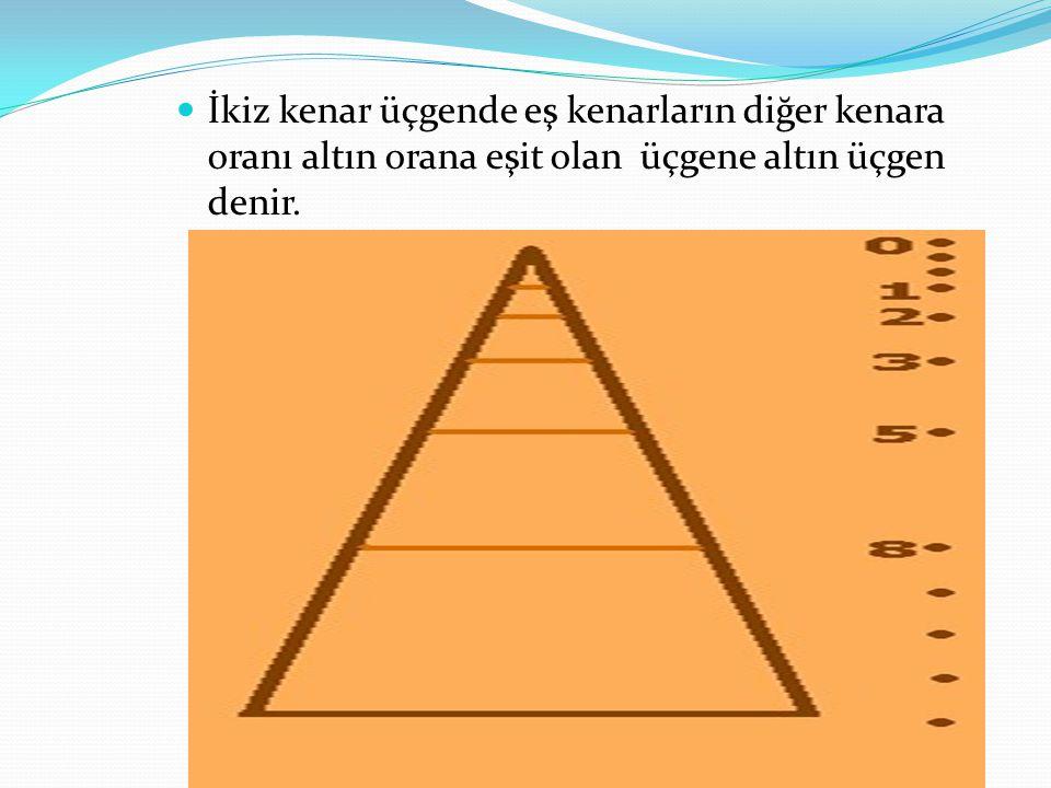 İkiz kenar üçgende eş kenarların diğer kenara oranı altın orana eşit olan üçgene altın üçgen denir.