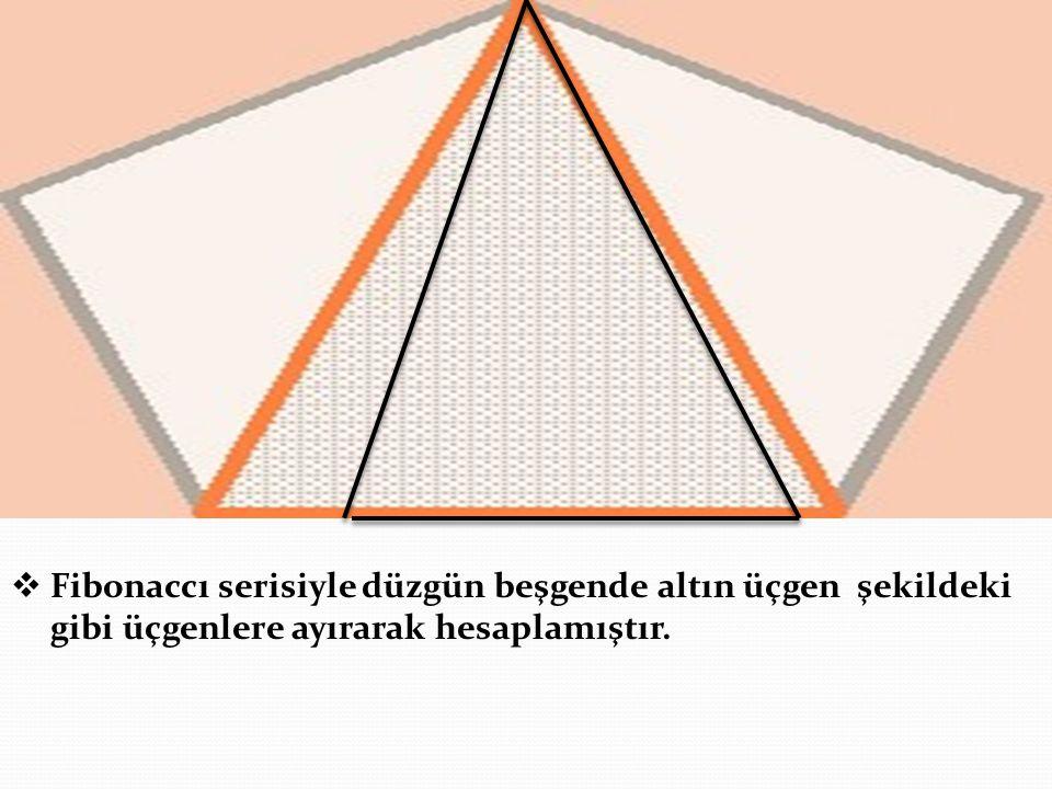FFibonaccı serisiyle düzgün beşgende altın üçgen şekildeki gibi üçgenlere ayırarak hesaplamıştır.
