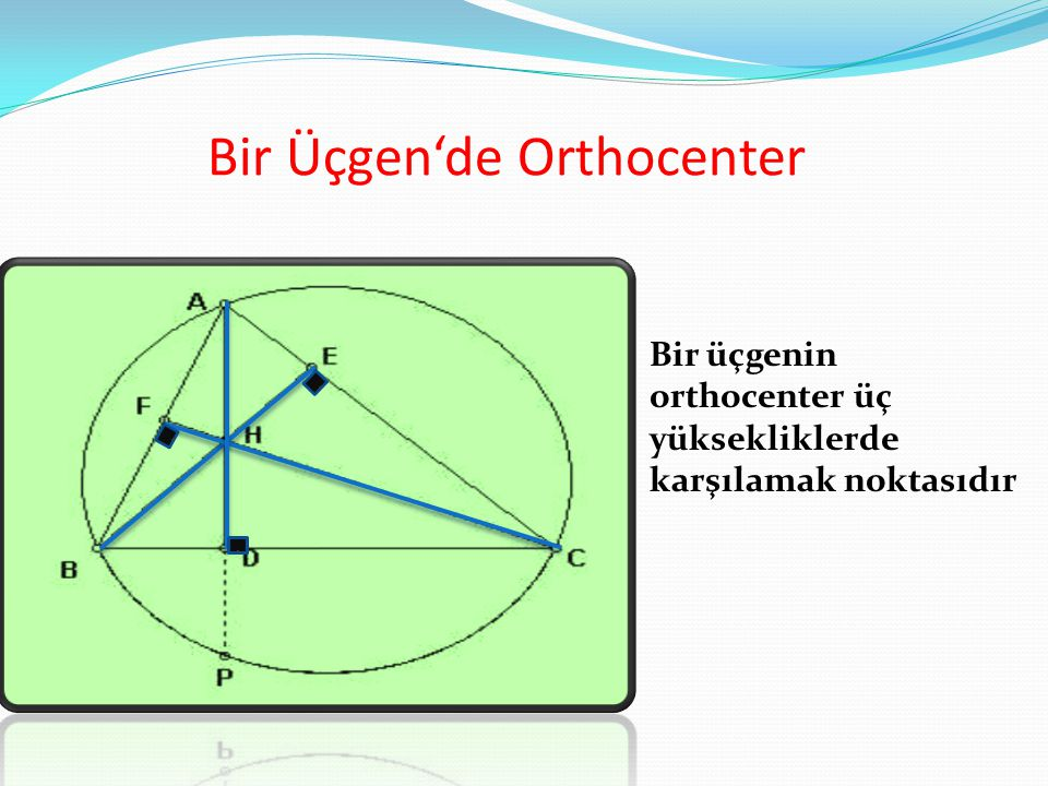 Bir Üçgen'de Orthocenter Bir üçgenin orthocenter üç yüksekliklerde karşılamak noktasıdır...