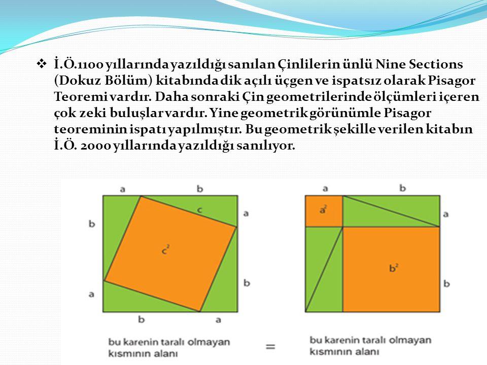  İ.Ö.1100 yıllarında yazıldığı sanılan Çinlilerin ünlü Nine Sections (Dokuz Bölüm) kitabında dik açılı üçgen ve ispatsız olarak Pisagor Teoremi vardı
