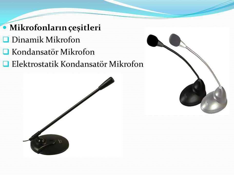 Mikrofonların çeşitleri  Dinamik Mikrofon  Kondansatör Mikrofon  Elektrostatik Kondansatör Mikrofon