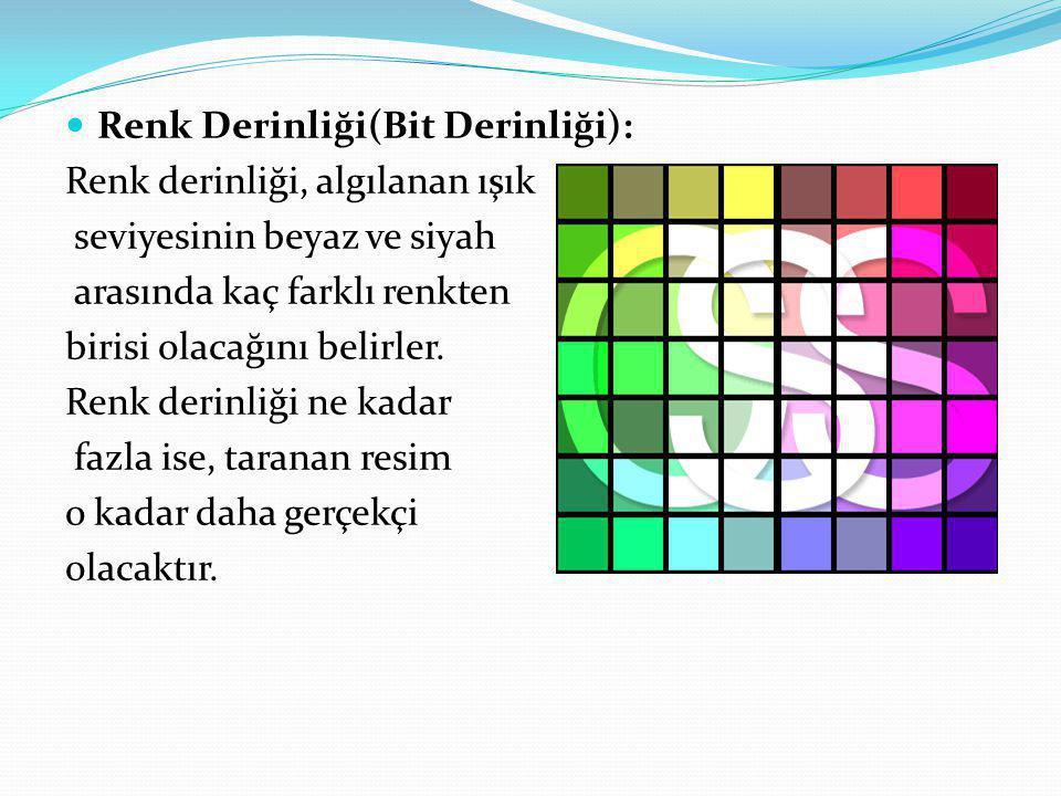 Renk Derinliği(Bit Derinliği): Renk derinliği, algılanan ışık seviyesinin beyaz ve siyah arasında kaç farklı renkten birisi olacağını belirler. Renk d