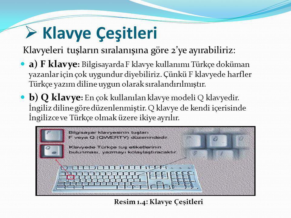  Klavye Çeşitleri Klavyeleri tuşların sıralanışına göre 2'ye ayırabiliriz: a) F klavye : Bilgisayarda F klavye kullanımı Türkçe doküman yazanlar için