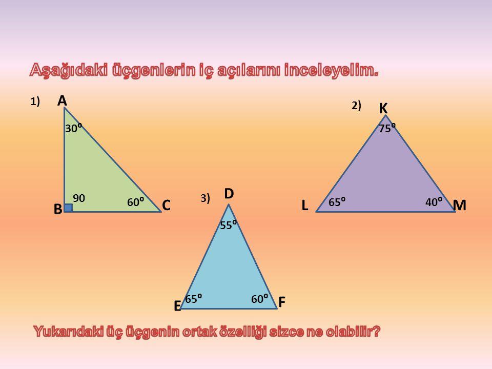 F E D ML K C B A 60⁰ 30⁰ 55⁰ 75⁰ 40⁰65⁰ 90 60⁰65⁰ 3) 2) 1)