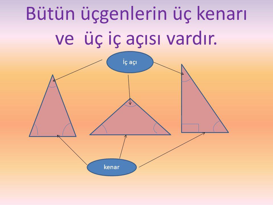 5) Aşağıda verilen üçgenleri açı ölçülerine göre sınıflandıralım.