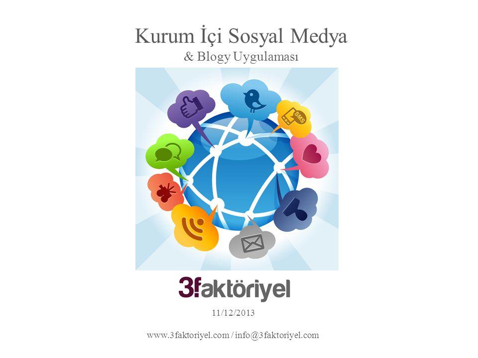 Kurum İçi Sosyal Medya & Blogy Uygulaması 11/12/2013 www.3faktoriyel.com / info@3faktoriyel.com