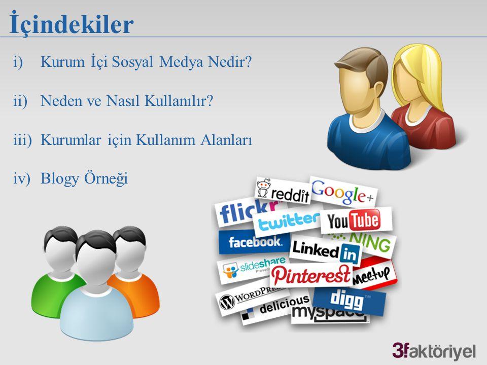 İçindekiler i)Kurum İçi Sosyal Medya Nedir? ii)Neden ve Nasıl Kullanılır? iii)Kurumlar için Kullanım Alanları iv)Blogy Örneği