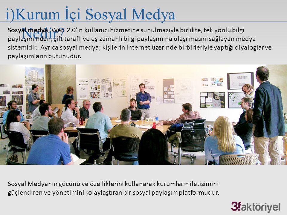 i)Kurum İçi Sosyal Medya Nedir? Sosyal Medyanın gücünü ve özelliklerini kullanarak kurumların iletişimini güçlendiren ve yönetimini kolaylaştıran bir