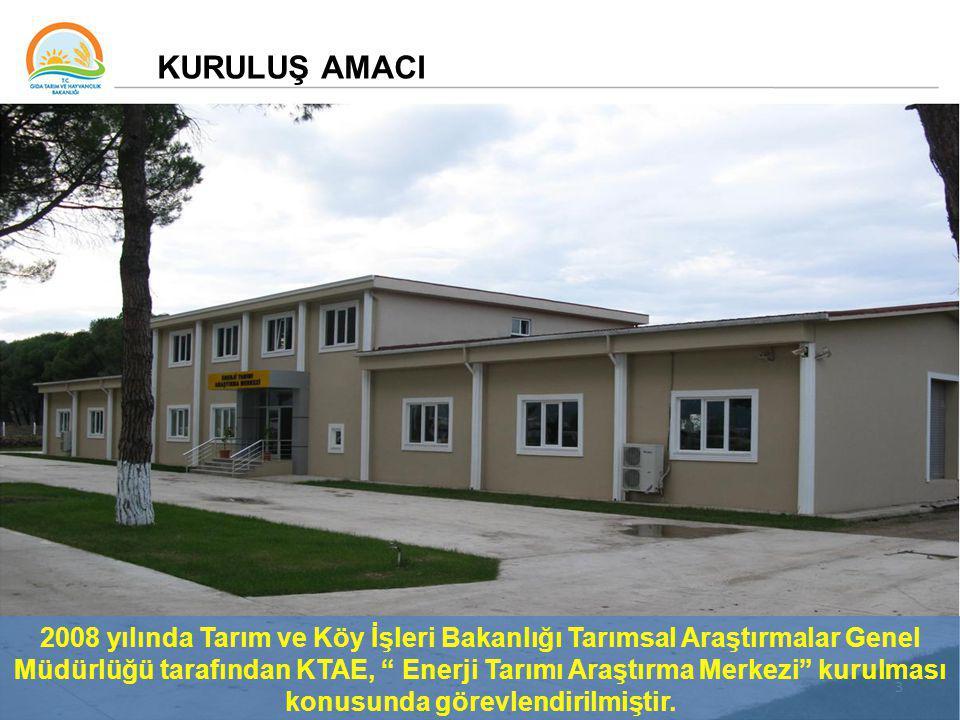 3 KURULUŞ AMACI 2008 yılında Tarım ve Köy İşleri Bakanlığı Tarımsal Araştırmalar Genel Müdürlüğü tarafından KTAE, Enerji Tarımı Araştırma Merkezi kurulması konusunda görevlendirilmiştir.