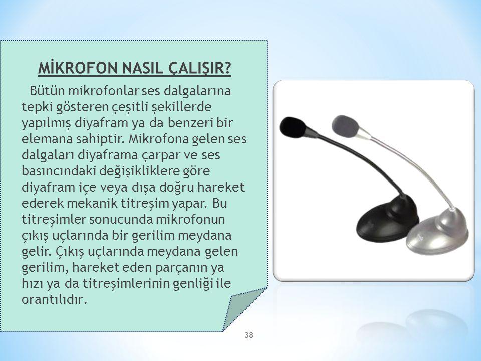38 MİKROFON NASIL ÇALIŞIR? Bütün mikrofonlar ses dalgalarına tepki gösteren çeşitli şekillerde yapılmış diyafram ya da benzeri bir elemana sahiptir. M
