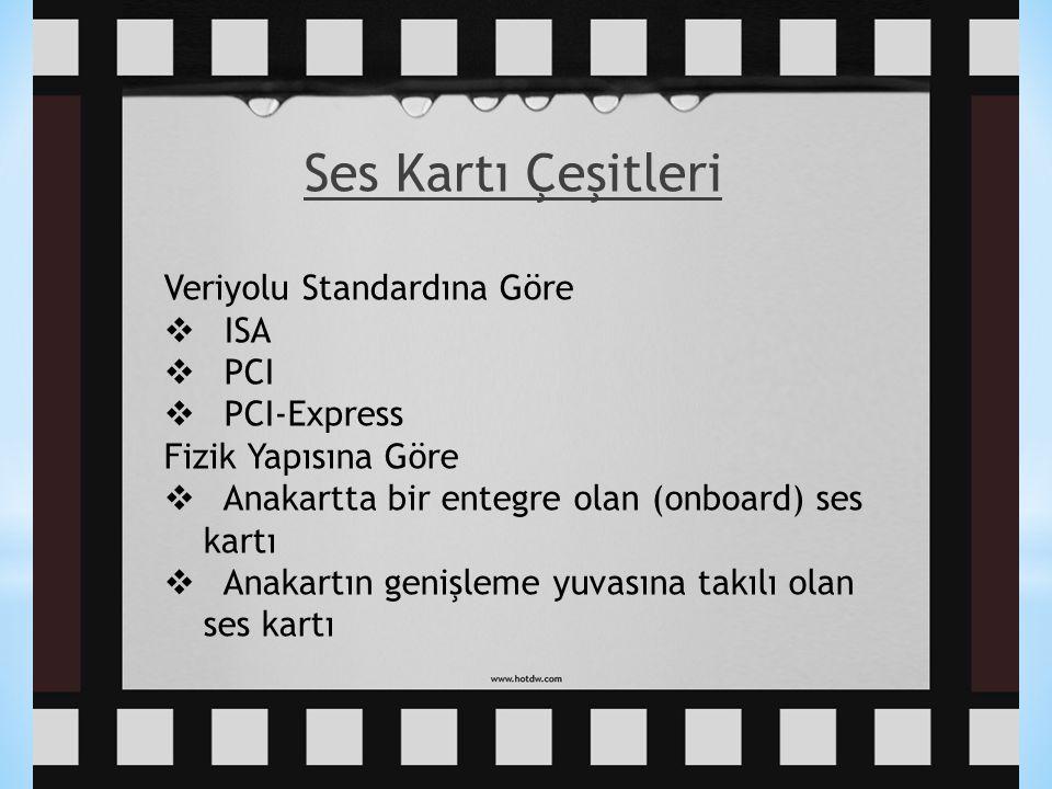 49 Ses Kartı Çeşitleri Veriyolu Standardına Göre  ISA  PCI  PCI-Express Fizik Yapısına Göre  Anakartta bir entegre olan (onboard) ses kartı  Anak