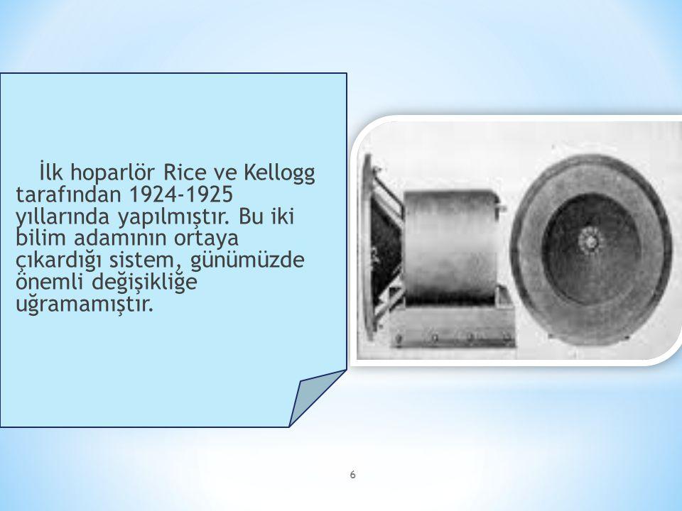 6 İlk hoparlör Rice ve Kellogg tarafından 1924-1925 yıllarında yapılmıştır. Bu iki bilim adamının ortaya çıkardığı sistem, günümüzde önemli değişikliğ