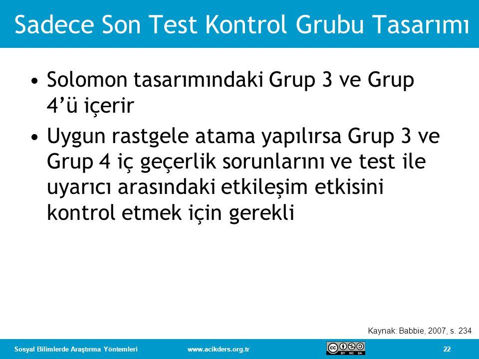 22Sosyal Bilimlerde Araştırma Yöntemleriwww.acikders.org.tr Sadece Son Test Kontrol Grubu Tasarımı Solomon tasarımındaki Grup 3 ve Grup 4'ü içerir Uygun rastgele atama yapılırsa Grup 3 ve Grup 4 iç geçerlik sorunlarını ve test ile uyarıcı arasındaki etkileşim etkisini kontrol etmek için gerekli Kaynak: Babbie, 2007, s.