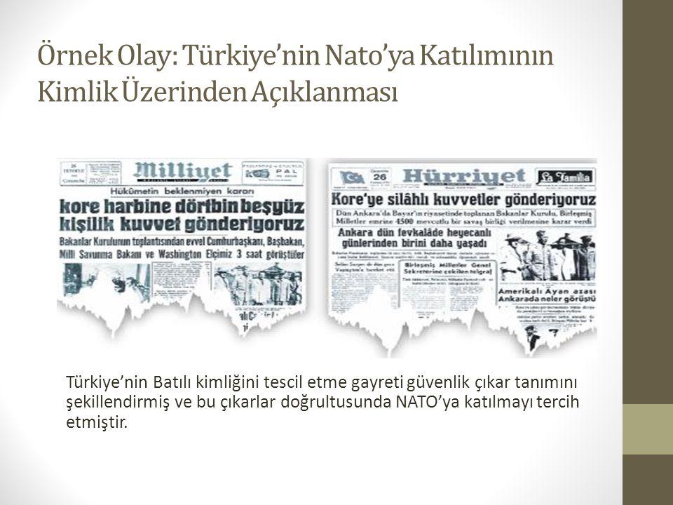 Örnek Olay: Türkiye'nin Nato'ya Katılımının Kimlik Üzerinden Açıklanması Türkiye'nin Batılı kimliğini tescil etme gayreti güvenlik çıkar tanımını şeki
