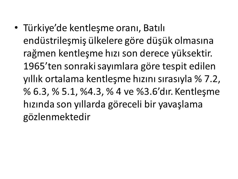 Türkiye'de kentleşme oranı, Batılı endüstrileşmiş ülkelere göre düşük olmasına rağmen kentleşme hızı son derece yüksektir. 1965'ten sonraki sayımlara