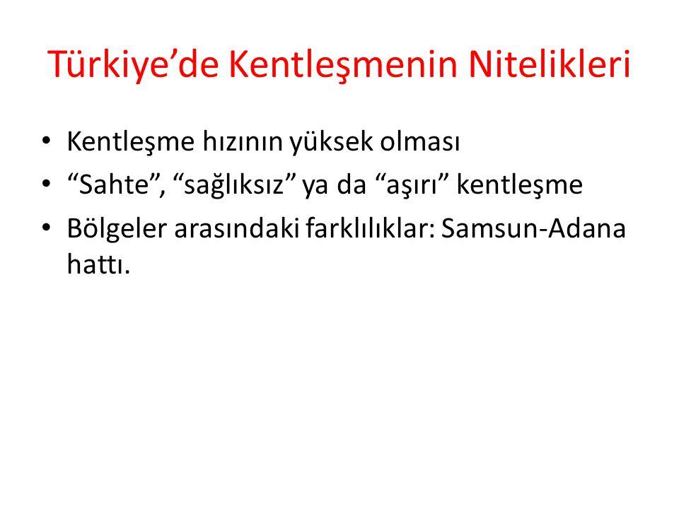 """Türkiye'de Kentleşmenin Nitelikleri Kentleşme hızının yüksek olması """"Sahte"""", """"sağlıksız"""" ya da """"aşırı"""" kentleşme Bölgeler arasındaki farklılıklar: Sam"""