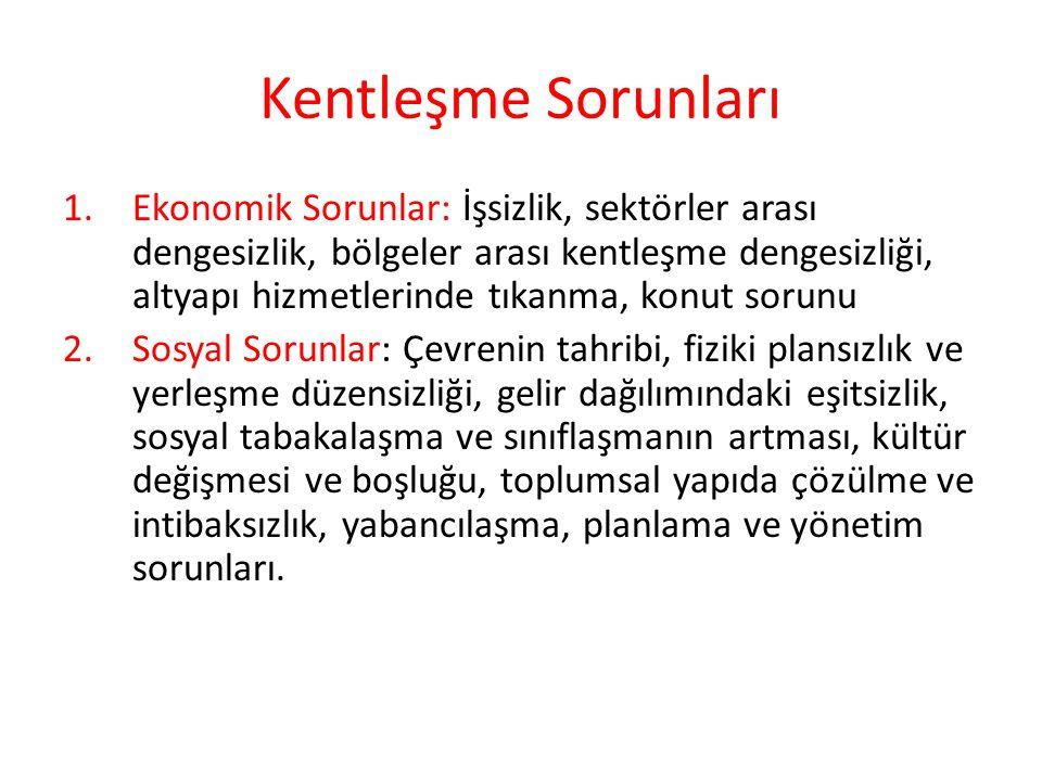 Kentleşme Sorunları 1.Ekonomik Sorunlar: İşsizlik, sektörler arası dengesizlik, bölgeler arası kentleşme dengesizliği, altyapı hizmetlerinde tıkanma,