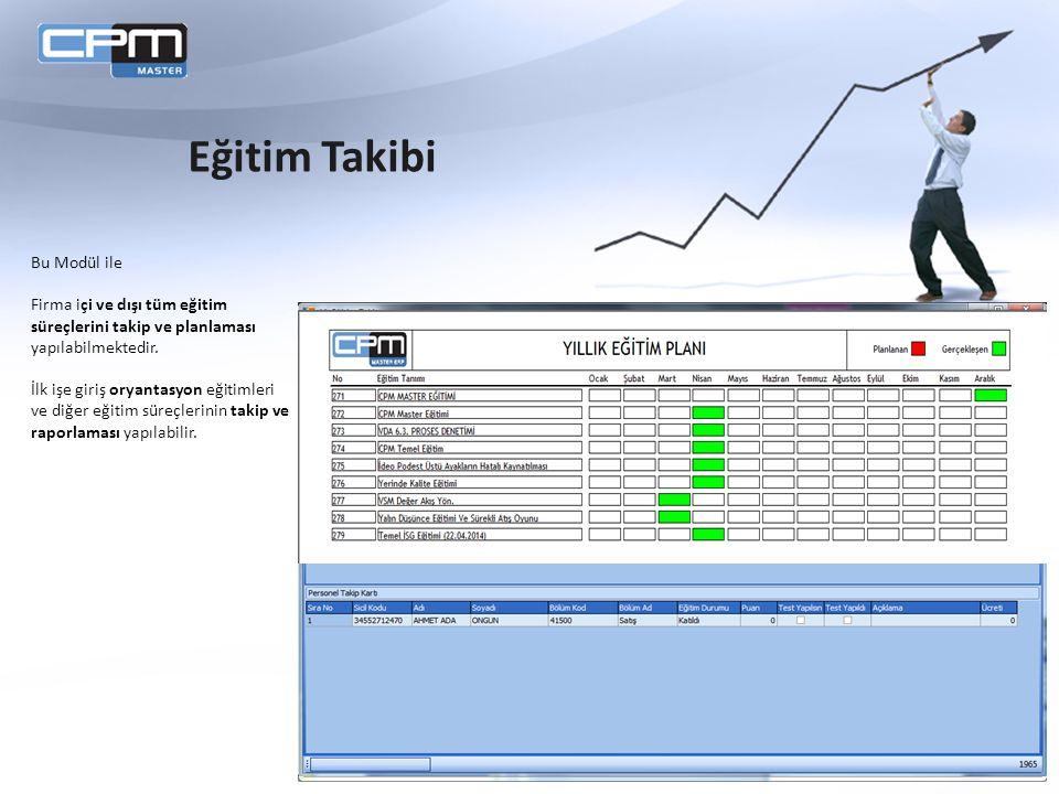 Bu Modül ile Firma içi ve dışı tüm eğitim süreçlerini takip ve planlaması yapılabilmektedir.
