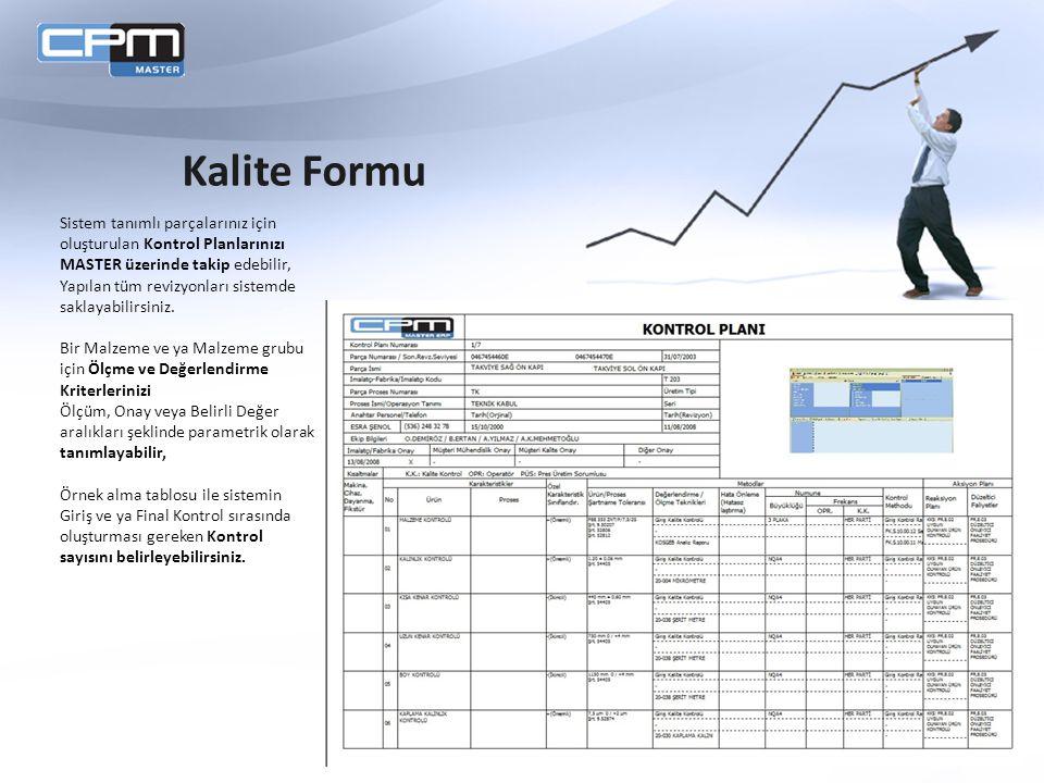Sistem tanımlı parçalarınız için oluşturulan Kontrol Planlarınızı MASTER üzerinde takip edebilir, Yapılan tüm revizyonları sistemde saklayabilirsiniz.