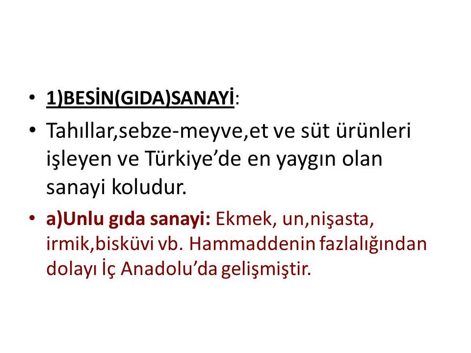 1)BESİN(GIDA)SANAYİ: Tahıllar,sebze-meyve,et ve süt ürünleri işleyen ve Türkiye'de en yaygın olan sanayi koludur. a)Unlu gıda sanayi: Ekmek, un,nişast