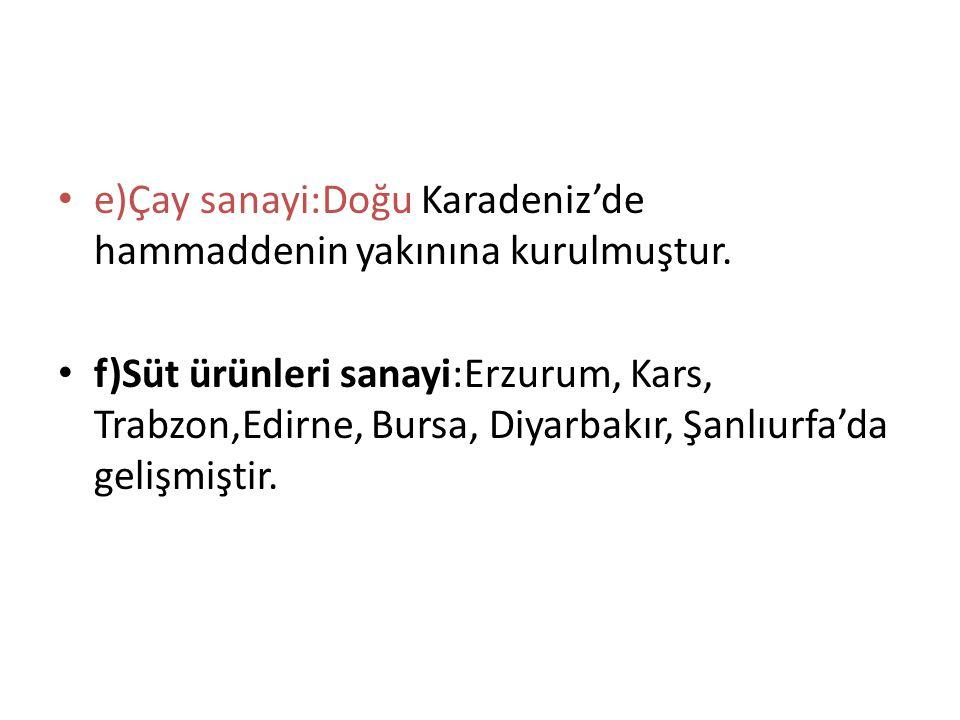e)Çay sanayi:Doğu Karadeniz'de hammaddenin yakınına kurulmuştur. f)Süt ürünleri sanayi:Erzurum, Kars, Trabzon,Edirne, Bursa, Diyarbakır, Şanlıurfa'da