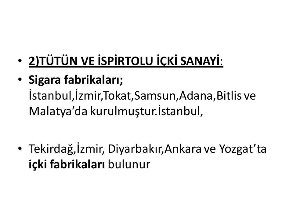 2)TÜTÜN VE İSPİRTOLU İÇKİ SANAYİ: Sigara fabrikaları; İstanbul,İzmir,Tokat,Samsun,Adana,Bitlis ve Malatya'da kurulmuştur.İstanbul, Tekirdağ,İzmir, Diy