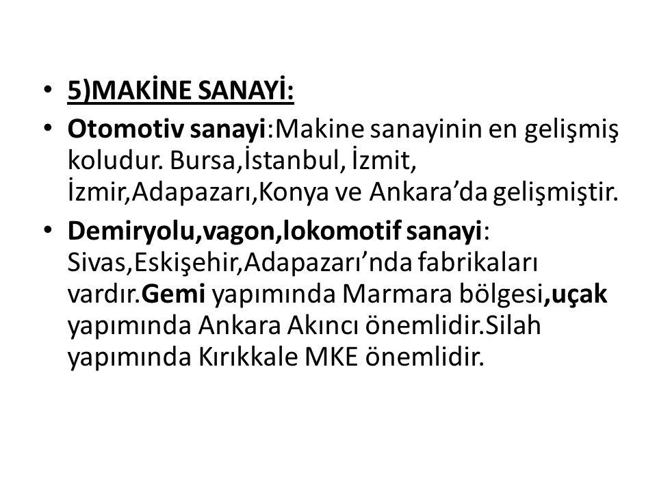 5)MAKİNE SANAYİ: Otomotiv sanayi:Makine sanayinin en gelişmiş koludur. Bursa,İstanbul, İzmit, İzmir,Adapazarı,Konya ve Ankara'da gelişmiştir. Demiryol