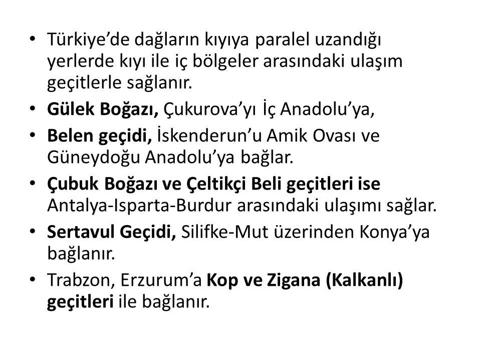 Türkiye'de dağların kıyıya paralel uzandığı yerlerde kıyı ile iç bölgeler arasındaki ulaşım geçitlerle sağlanır. Gülek Boğazı, Çukurova'yı İç Anadolu'