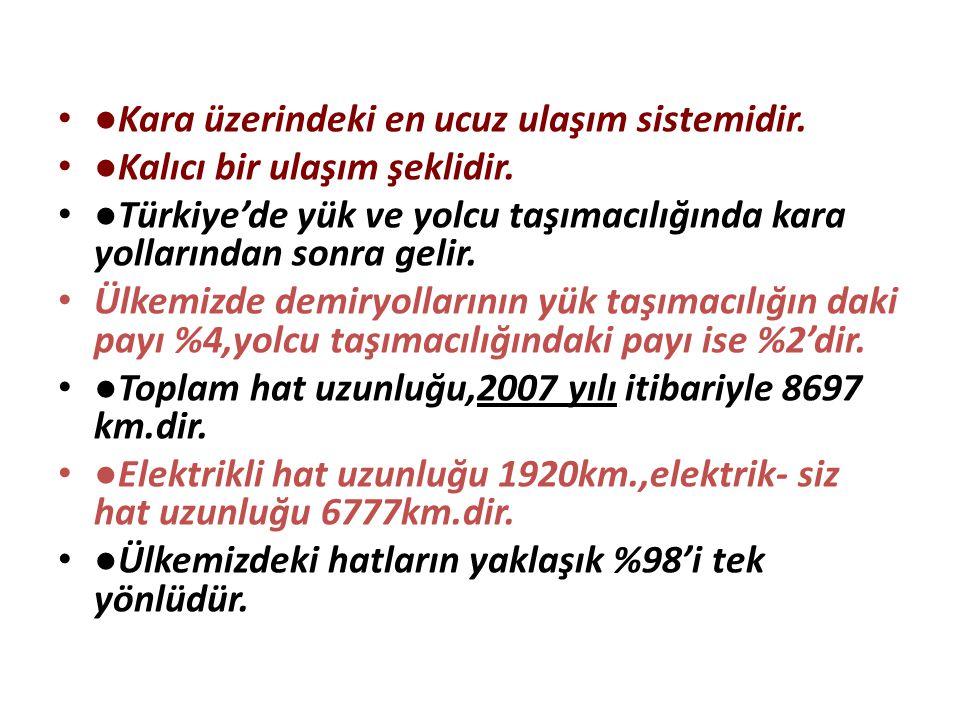 ●Kara üzerindeki en ucuz ulaşım sistemidir. ●Kalıcı bir ulaşım şeklidir. ●Türkiye'de yük ve yolcu taşımacılığında kara yollarından sonra gelir. Ülkemi