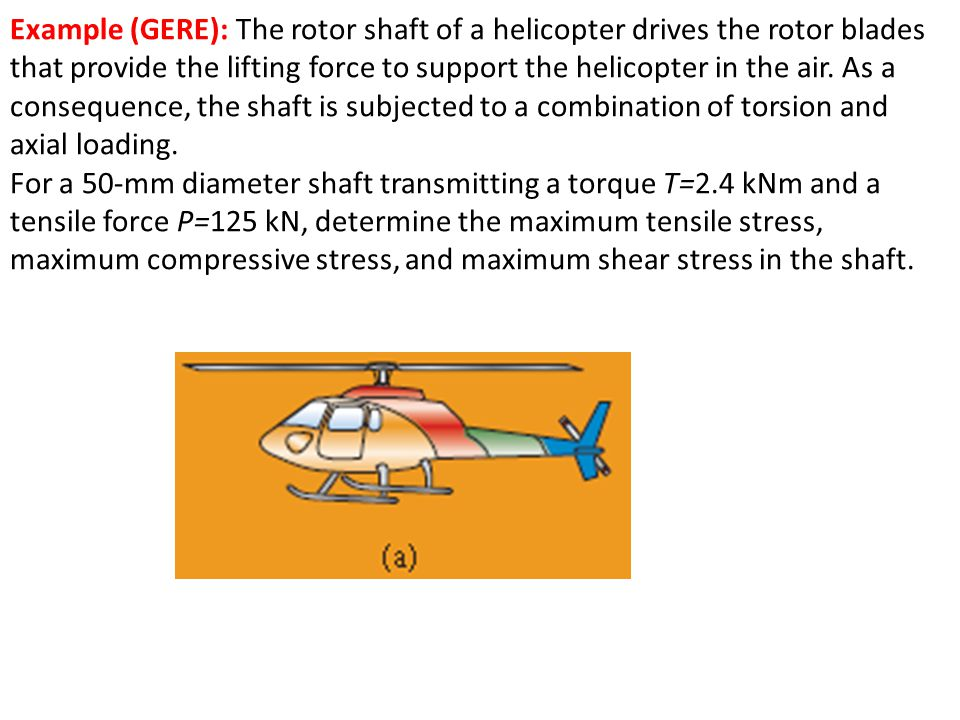 Example (GERE): The rotor shaft of a helicopter drives the rotor blades that provide the lifting force to support the helicopter in the air. As a cons