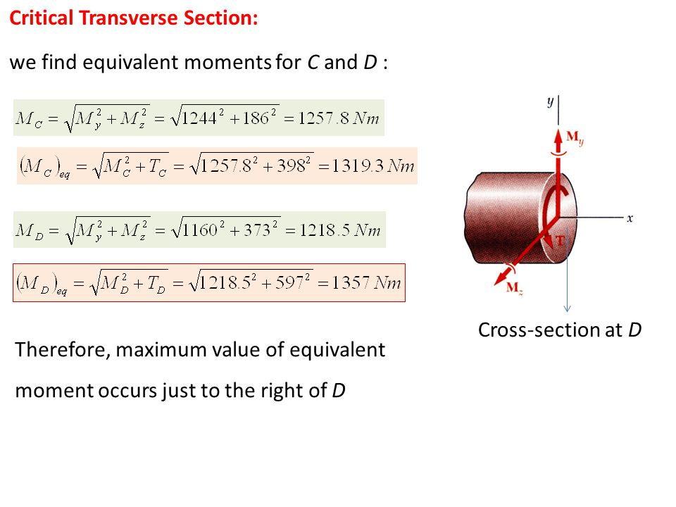Critical Transverse Section: we find equivalent moments for C and D : Therefore, maximum value of equivalent moment occurs just to the right of D Cros