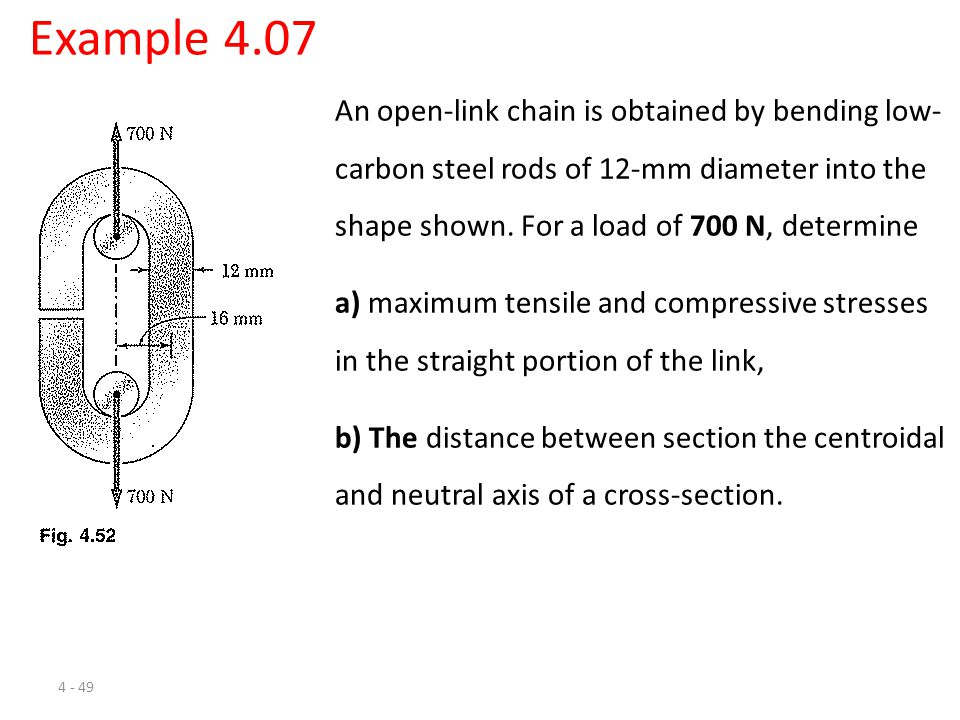 4 - 49 Example 4.07 An open-link chain is obtained by bending low- carbon steel rods of 12-mm diameter into the shape shown. For a load of 700 N, dete