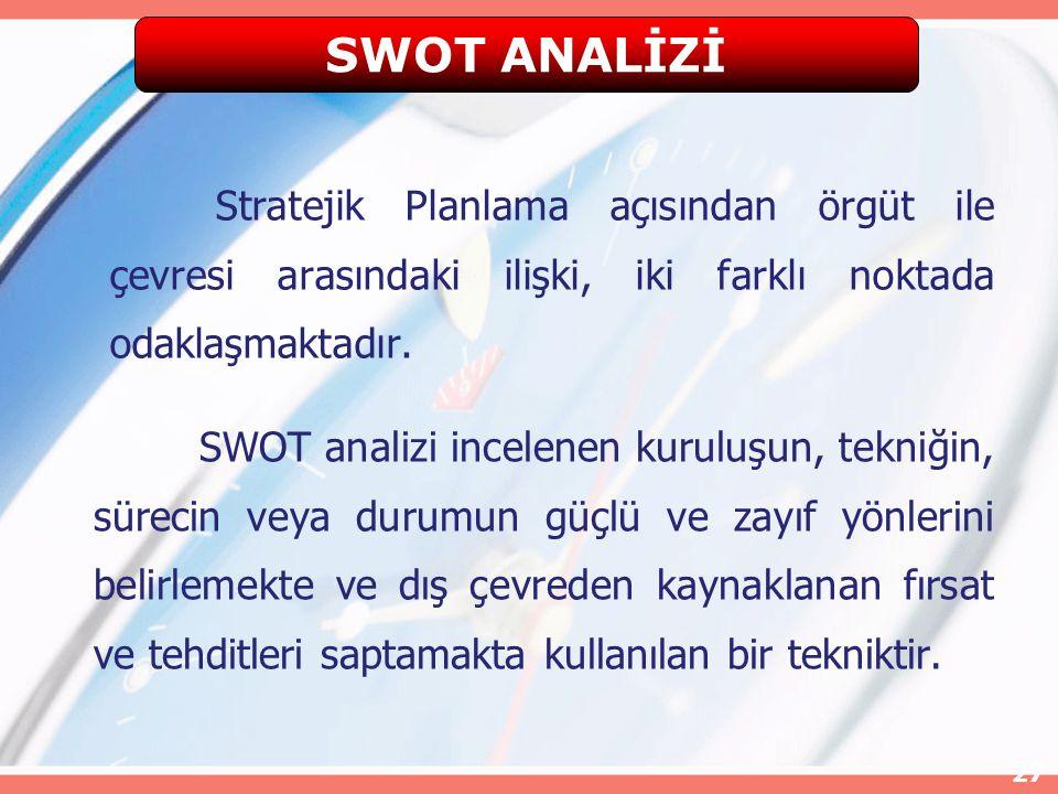 27 Stratejik Planlama açısından örgüt ile çevresi arasındaki ilişki, iki farklı noktada odaklaşmaktadır. SWOT analizi incelenen kuruluşun, tekniğin, s
